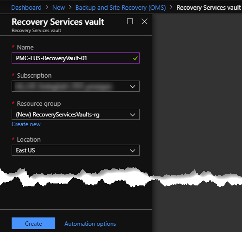 Recovery Services Vault Creation