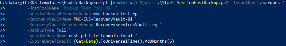 Starting Backup Job Result and returning value to a variable